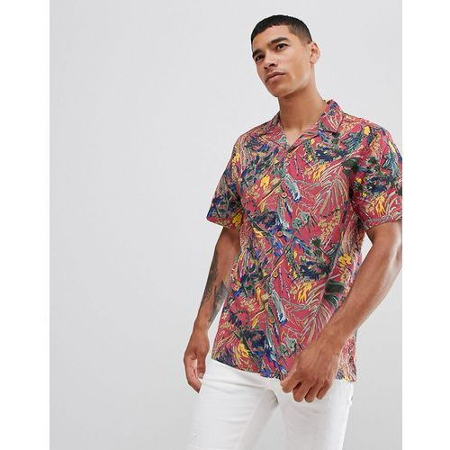 Pull&Bear floral shirt with revere collar in pink - Pink, kolor różowy