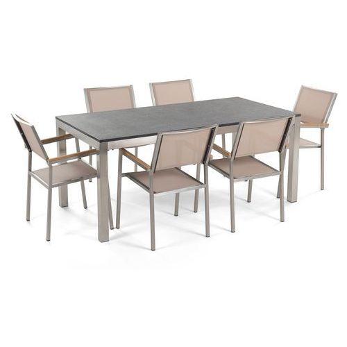 Zestaw ogrodowy naturalny kamień 180 cm 6 osobowy krzesła beżowe GROSSETO (4260580923663)