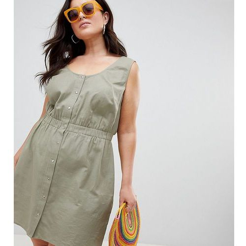 ASOS DESIGN Curve casual popper mini dress - Green