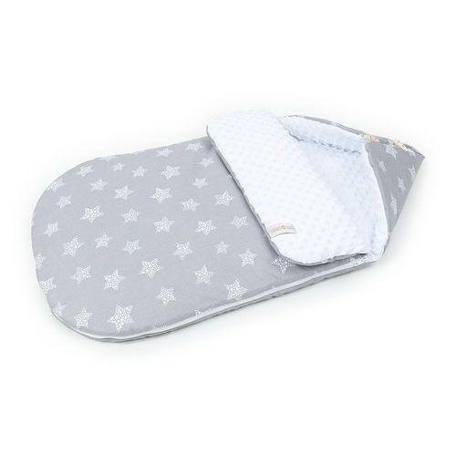 """Mamo-tato Śpiworek do wózka spacerówki fotelika 12-24 miesięcy """"m"""" gwiazdy bąbelkowe białe duże / biały"""