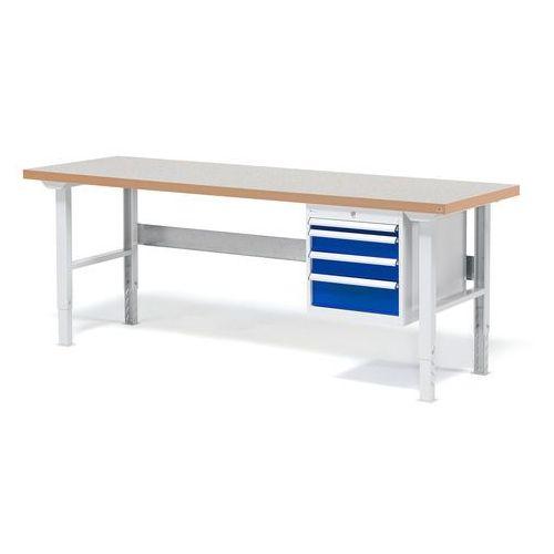 Stół warsztatowy Solid, zestaw z 4 szufladami, 500 kg, 2000x800 mm, winyl