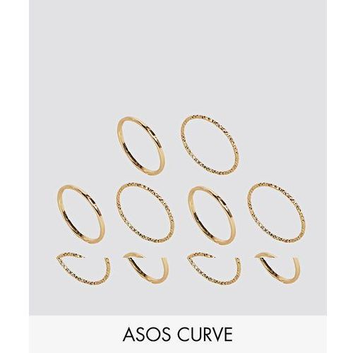 ASOS CURVE Pack of 10 Mixed Texture Rings - Gold