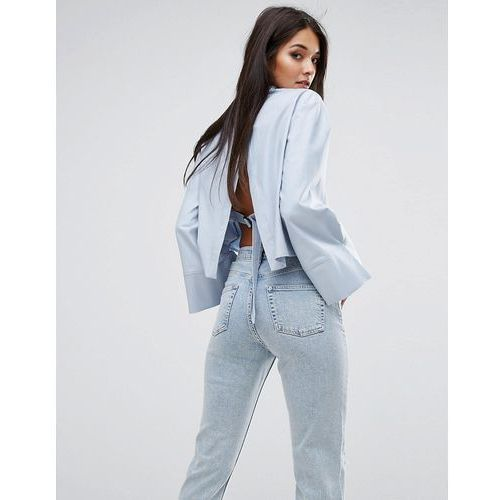 River Island Studio Cropped Trapeze Sleeve Shirt With Open Back - Blue
