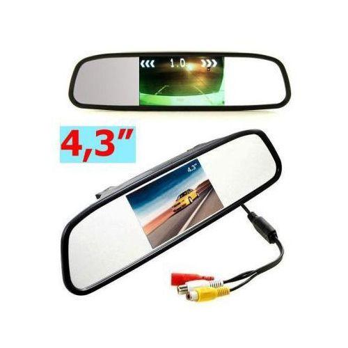"""Samochodowy Monitor LCD 4,3"""" w Lusterku, do Kamery Cofania... + 2 Kanały Video..., 59077897532484"""