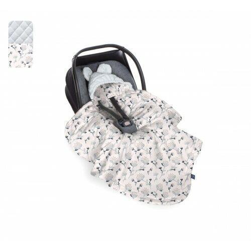 - kocyk do fotelika - kwiaty - szary velvet marki Baby steps