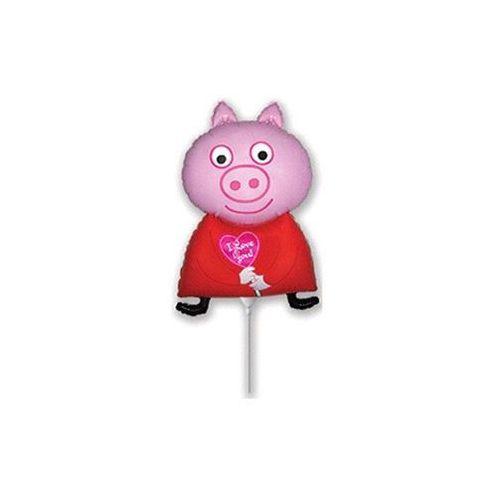 Balon foliowy do patyka Świnka Peppa - 32 cm - 1 szt. - sprawdź w wybranym sklepie