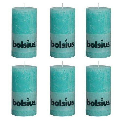 Bolsius rustykalne świece pieńkowe, 130 x 68 mm, kolor morski, 6 szt. (8717847083876)