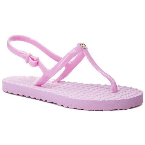 65c78fee97f16 Sandały - flat strappy beach sandal fw0fw03923 pink lavender 518 marki  Tommy hilfiger