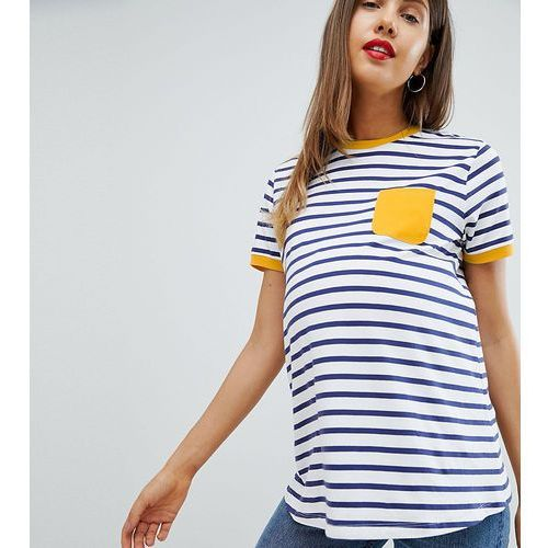 ASOS DESIGN Maternity stripe t-shirt with contrast pocket - Multi