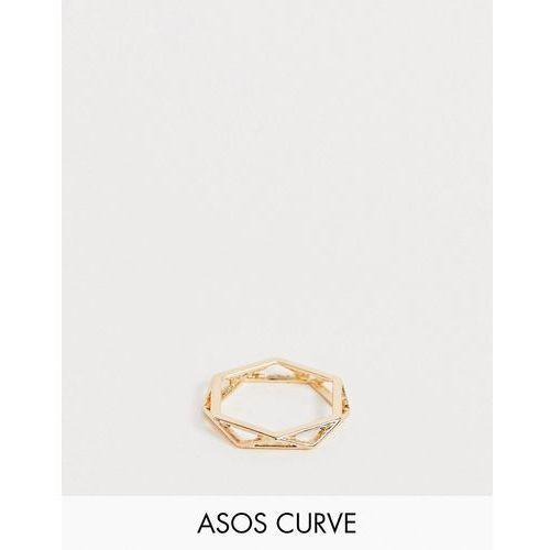 Asos curve Asos design curve ring in open geo design in gold - gold