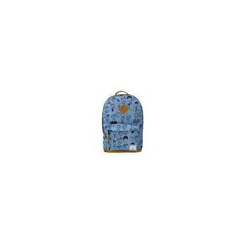 Plecak dwukomorowy niebieski Twarze (5902921986706)
