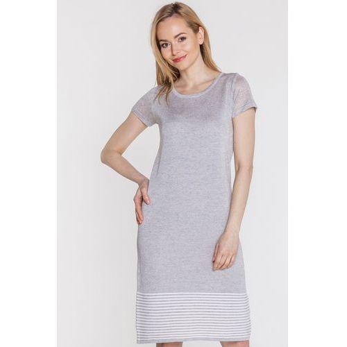 Szara sukienka z dołem w paski - Far Far Fashion, kolor szary