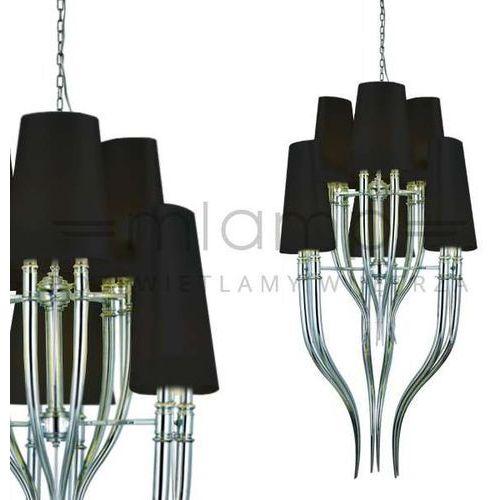 Żyrandol lampa wisząca diablo ad8074-3+3 bk abażurowa oprawa retro chrom czarna marki Azzardo