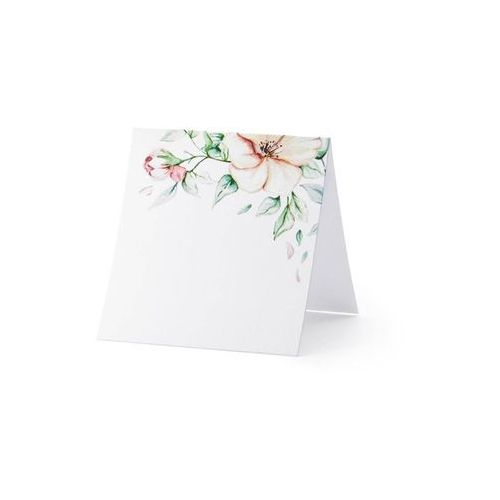 Twojestroje.pl Wizytówki na stół kwiaty białe 25szt