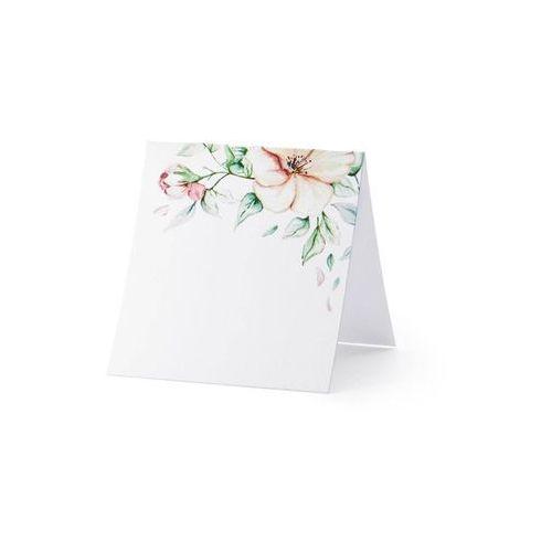 Twojestroje.pl Wizytówki na stół kwiaty białe 25szt (5900779103306)