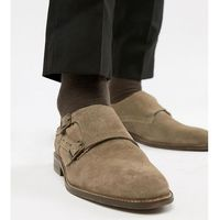 Dune wide fit monk shoes in taupe suede - tan