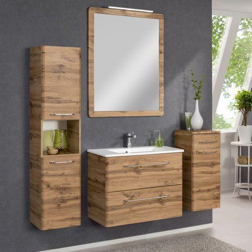 Badmobil by fackelmann Komplet mebli łazienkowych z serii beta dąb szafki, lustro oraz umywalka 80 cm