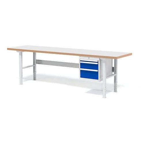 Stół warsztatowy Solid, zestaw z 3 szufladami, 500 kg, 2500x800 mm, laminat