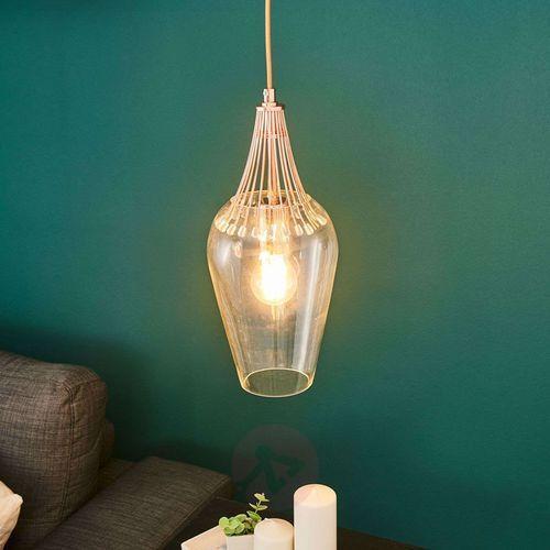 Lampa wisząca Whisk z kloszem i miedzią