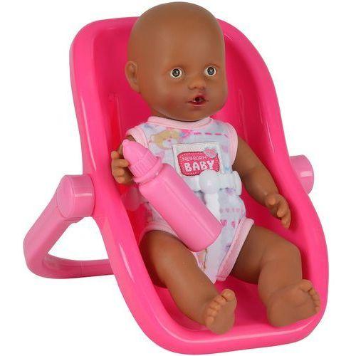 Simba New Born Baby Lalka Bobas Afroamerykanin w nosidełku ciemno-różowym 20 cm