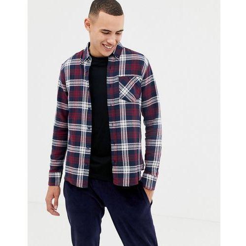 pocket button down tartan flannel shirt - red, D-struct, S-XL