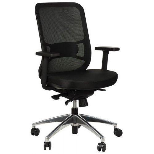 Stema - gn Krzesło obrotowe biurowe z podstawą aluminiową i wysuwem siedziska model gn-310/czarny fotel biurowy obrotowy