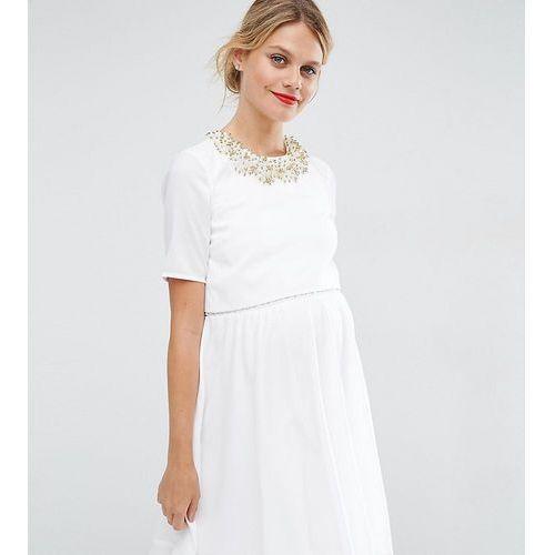 embellished crop top mini dress - white marki Asos maternity