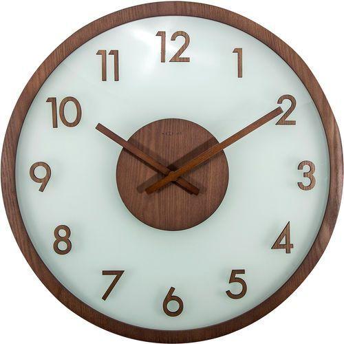 Zegar na ścianę Frosted Wood Nextime brązowy (3205 BR), kolor brązowy