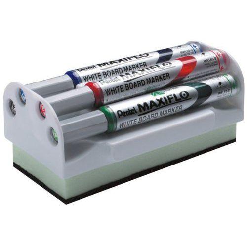 Pentel Marker suchościeralny  mwl5s - zestaw 4 kol. + ścierak