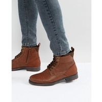 worker lace up boots in brown - brown, River island