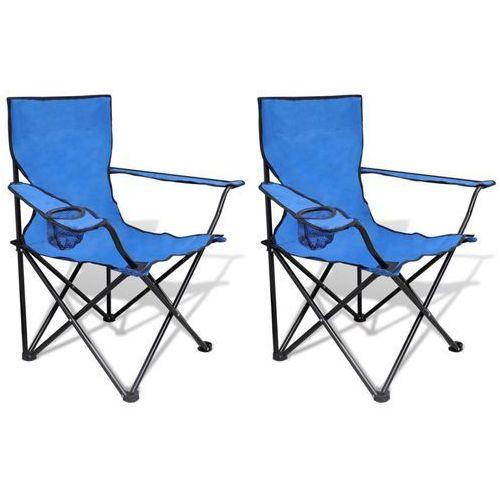 vidaXL Mały zestaw 2 składanych krzeseł kempingowych z torbą niebieskie (8718475874201)