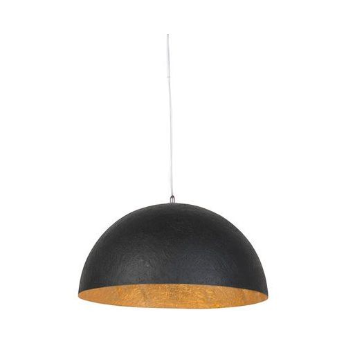 Nowoczesna okrągła lampa wisząca czarna ze złotym środkiem 50cm - magna marki Qazqa