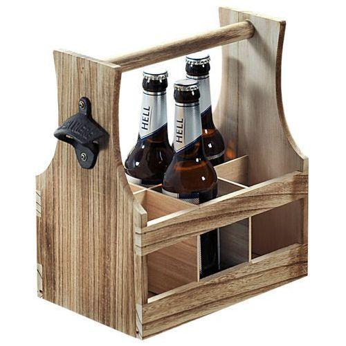 Skrzynka ozdobna na butelki z drewna litego, skrzynka drewniana przenośna z otwieraczem do piwa, pojemnik na butelki, skrzynka na piwo, Kesper (4000270692666)