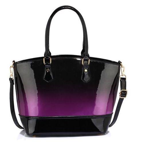 Lakierowana torebka damska cieniowany fiolet - czarny ||fioletowy, kolor czarny