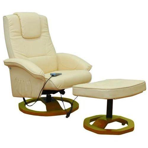 fotel do masażu resoga z podnóżkiem, kremowy marki Vidaxl