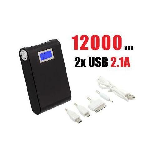 OKAZJA - Przenośny Akumulator/Ładowarka Mobilna Power Bank 12000mAh!! + LCD + Latarka.