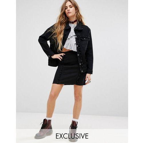 inspired denim mini skirt with frill detail co-ord - black wyprodukowany przez Reclaimed vintage