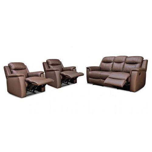 Skórzana sofa 3-osobowa i 2 fotele evasion z funkcją relaks - czekoladowy marki Vente-unique