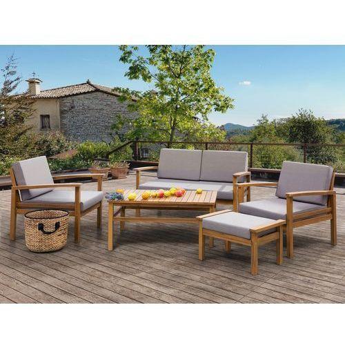 Beliani Meble ogrodowe brązowe - stół + 2 fotele + ławka + hoker - manila