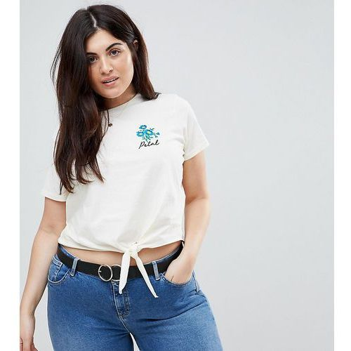 Asos curve crop tie front t-shirt with cute floral embroidery badge - cream