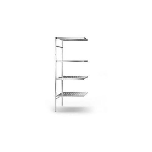 Kek Regał wtykowy ze stali szlachetnej, 4 perforowane półki,szer. półki x gł. 640 x 540 mm