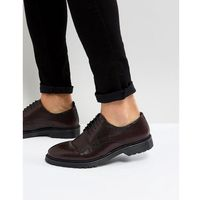 ASOS Lace Up Derby Shoes In Burgundy Perforated Leather With Ribbed Sole - Red