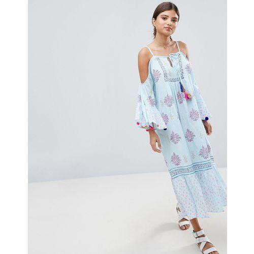 South beach maxi crepe block print beach dress with pom pom sleeve trim - multi
