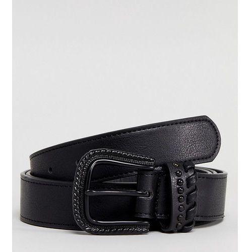 ASOS PLUS Slim Faux Leather Belt In Black With Matte Black Western Buckle - Black