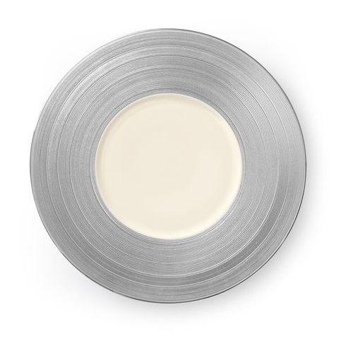 Talerz płytki z szerokim srebrnym rantem manhattan marki Luzerne