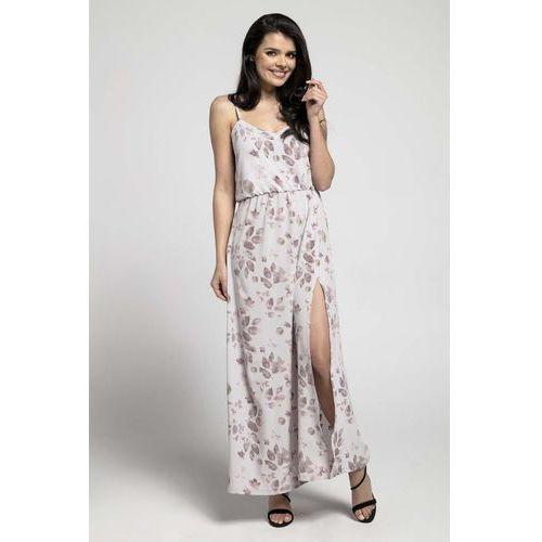 Kwiatowa Zwiewna Maxi Sukienka na Cienkich Ramiączkach z Rozcięciem, w 6 rozmiarach