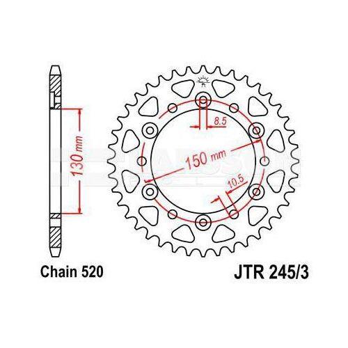 Zębatka tylna stalowa JT 245/3-45, 45Z, rozmiar 520 2300498 Honda NX 650, XR 600