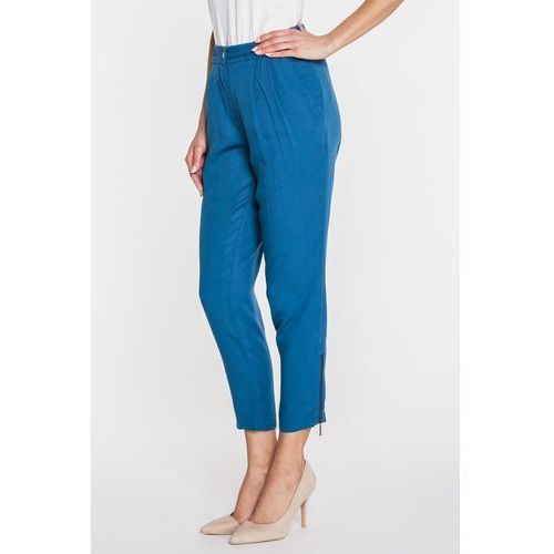 Granatowe spodnie z zakładkami -  marki Bialcon