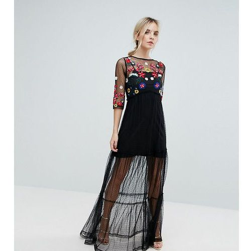 Asos petite mesh maxi dress with embroidery - black