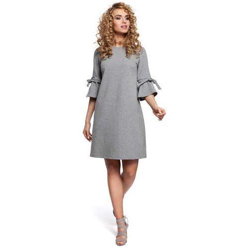Szara Sukienka Trapezowa z Rozkloszowanymi Rękawami, w 5 rozmiarach